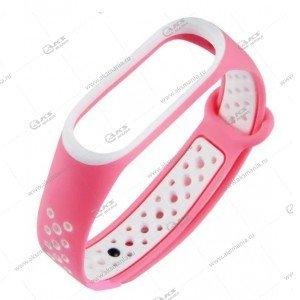Ремешок на Mi Band 3/4 Перфорированный розовый с белым
