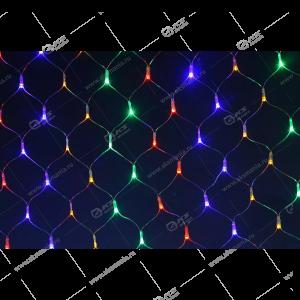 Гирлянда уличная сетка белый провод 96LED разноцвет.