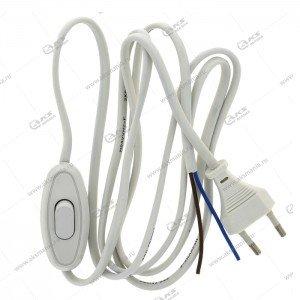 Шнур Smartbuy с плоской вилкой и проходным выключателем белый (SBE-06-P05-w)
