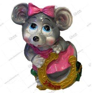 Копилка Мышь с подковой 15см-11см цвета разные