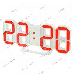 Часы Perfeo Luminous PF-663 белый корпус / красная подсветка