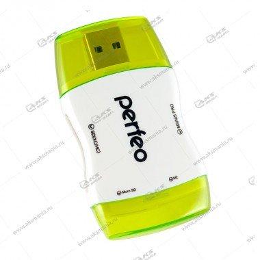 Perfeo Card Reader SD/MMC+Micro SD+MS+M2, (PF-VI-R016 Green) зеленый