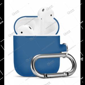 Силиконовый чехол для Airpods 2 с карабином Dark Blue