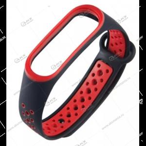 Ремешок на Mi Band 3/4 Перфорированный черный с красным