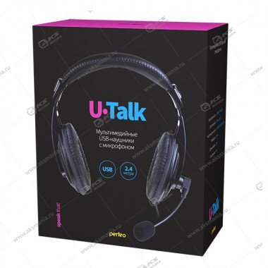 Гарнитура полноразмерная Perfeo U-TALK кабель 2,4м с USB выходом, черная