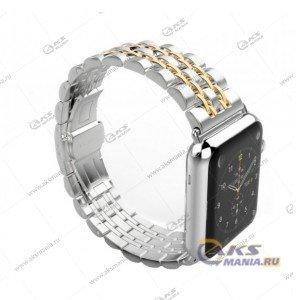 Ремешок Apple Watch 38-40mm металлический серебро с золотом