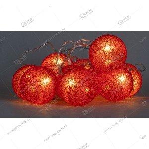 """Гирлянда """"Большие красные текстильные шарики"""" силиконовый провод"""