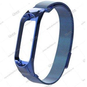 Ремешок на Mi Band 3/4 миланская петля Greatcase синий