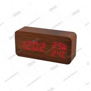 Часы Perfeo Wood PF-S736 коричневый/ красный
