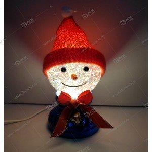 """Лампа-шар с эффектом снегопада и подсветкой """"Снеговик в шапке"""" синий"""