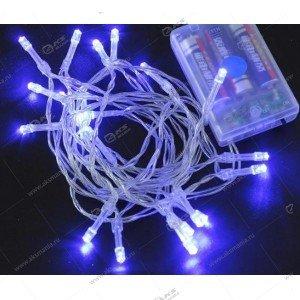 Светодиодная гирлянда на батарейках силиконовый провод 7м синий