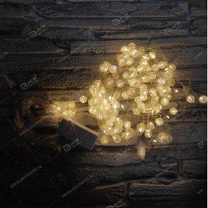 Гирлянда штора проволка бусина стекло 1,5х1,5м желтый
