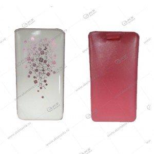 Чехол кожа с язычком (11х5,5см) la fleur эра бело-розовый