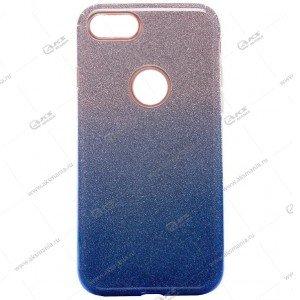 Силикон блестки Honor 8C 3в1 градиент бело-синий