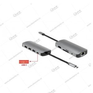 Переходник Perfeo USB Type-C dock.station 9in1 (PF-Type-C-23) PF-B4668