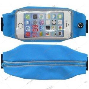 """Спортивная чехол-сумка """"Бананка"""" с прозрачным окном для телефона голубая"""