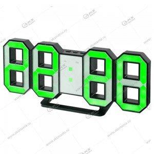 Часы Perfeo Luminous PF-663 черный корпус / зелёная подсветка