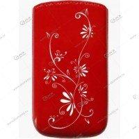 Чехол кожа с язычком Samsung I9500 (13х6,5см) la fleur эра красный