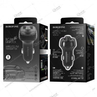 FM Модулятор Borofone BC16 MiniRock Bluetooth + АЗУ 3.4A 2USB черный