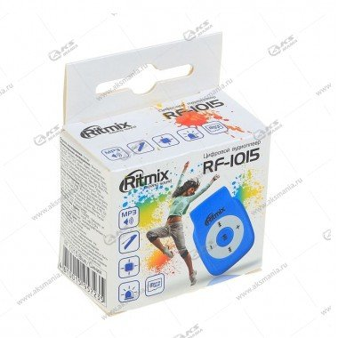 MP3 Плеер RITMIX RF-1015 голубой, MicroSD/MicroSDHC (до 16 Гб), MP3, WMA