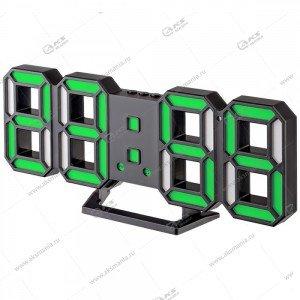Часы Perfeo Luminous 2 PF-6111 черный корпус / зелёная подсветка