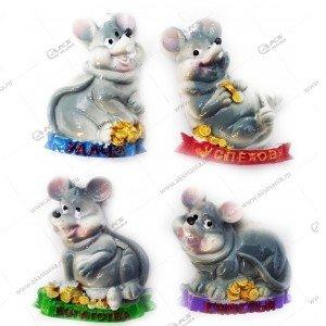 Магнит Мышь на деньгах 6см-5см цвета разные