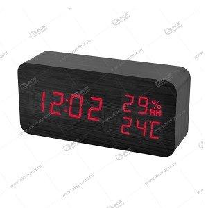 Часы Perfeo Wood PF-S736 черный/ красный