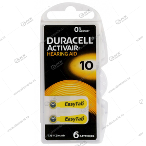 Элемент питания Duracell ActiveAir Nugget Box DA10/ZA10/6BL (для слуховых аппаратов)