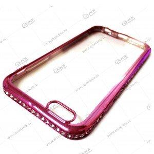 Силикон Samsung S7 Edge стразы по кругу розовый