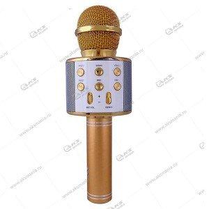 Беспроводной караоке микрофон WS-858 золотой
