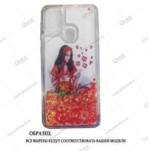 Силикон Аквариум Huawei Honor 9C/P40 Lite E Девушка с телефоном белый